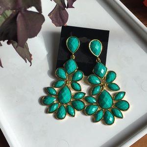 Faux emerald green statement chandelier earrings